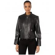 LAUREN Ralph Lauren Petite Zip Front Diamond Quilt Leather Jacket Black