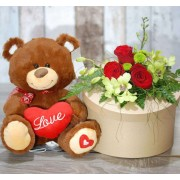 Cute Brown Love Teddy Bear with Heart