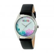 Crayo Graffiti Leather-Band Watch - Silver/Black CRACR4001