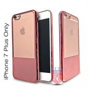 KC Premium Half Electroplated Soft Transparent Silicone TPU Case Back Cover for iPhone 7 Plus (Rose Gold)