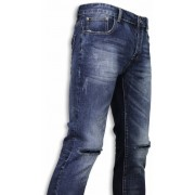 Black Ace Basic Jeans - Damaged Knee Regular Fit - Blauw