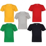 Dongli Boys Half Sleeve Cotton Round Neck Tshirt With Bio Wash (Pack Of 5).
