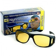 HD Night Driving Wrap Arounds Yellow Color Glasses Yellow Color Glasses Bike Car Driving Yellow Color Glasses 1Pcs.