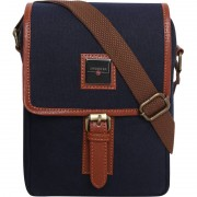 Swisstek Men & Women Casual Blue, Brown Canvas, PU Sling Bag