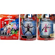 "Pink Power Rangers Figures 2-Pack Saban's Ninja Steel Edition 5"" with Battle Gear Pink Ranger with Sword & Training Mode Action Hero Figure + Bonus Blind Bag Buildable Mini Figure & Accessory"