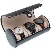 Cutie pentru 3 Ceasuri din piele ecologica neagra, Rotund, 19x9 CM
