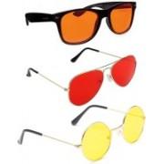 Elligator Aviator, Wayfarer, Round Sunglasses(Orange, Red, Yellow)