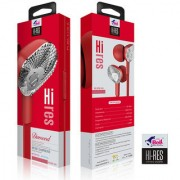 Bell Earphone Hi-Res Pure Voice In-line Remote Control Wired Headset 3.5mm with mic (Red - BL636)