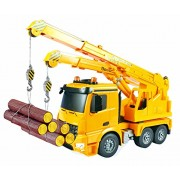 Large 16 Inch Rc Mercedes Benz Actros Crane Heavy Construction Truck Remote Control 1:18 6 Channel w/ Extending Crane w/ Flashing Emergency Lights and Sound by Bo-Toys