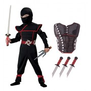 California Costumes Stealth Ninja Toddler Costume with Armor & Daggers Bundle Costume, Black/Red