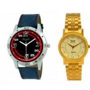 Mark Regal Denim Lather Strap+Hwt Golden Metel Men's Watches Combo