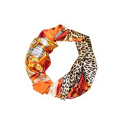 Esarfa orange cu animal print si detalii fashion