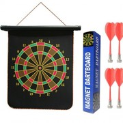 BabyGo Double Faced Portable, Foldable High Quality Magnetic Dart Game with 4 Colourful Non Pointed Darts. Strong Magnetic Power and Solid Darts Stick (12 inch Big Size)