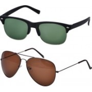 Freny Exim Clubmaster Sunglasses(Green, Brown)