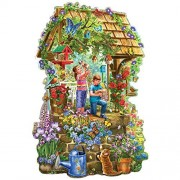Bits And Pieces - 300 Piece Shaped Jigsaw Puzzle For Adults Wishing Well Garden Pc Flowers Butterflies By Artist Liz Goodrick-Dillon