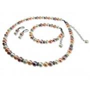 Set perle de cultura alb/roz/oranj