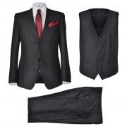 vidaXL Три-компонентен мъжки бизнес костюм, размер 46, черен