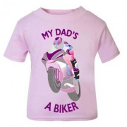 E - My Dad is a biker motorcycle toddler baby childrens kids t-shirt 100% cotton