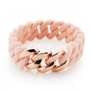 The Rubz Natural Silicone 15mm Unisex Bracelet Baby Pink & Pink Gold