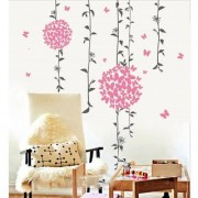 Wall Dreams Plesant Pink Butterflies In Flower Shape Bunch In Hanging Vines Wall Stickers (50cmX70cm)