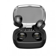 X10-Plus TWS Bluetooth 5.0 Headset Digital Display Wireless Bluetooth Earbuds with Charging Case - Black