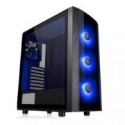 Кутия Thermaltake Versa J25, ATX/mATX/miniITX, 2x USB 3.0, страничен прозорец от закалено стъкло, черна, без захранване, RGB програмируема подсветка