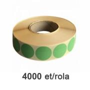 Role de etichete semilucioase rotunde verzi 35mm, 4000 et./rola