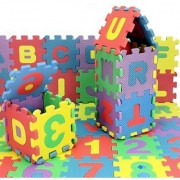 Kids Educational Learning Puzzle Multicolor EVA Toys English Alphabets A to Z Numbers 1 to 10 (36 Pieces)