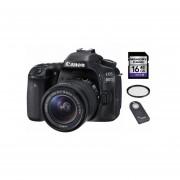 Camara Reflex Canon 80d Lente 18-55mm + 16gb + Control + Uv - Negro
