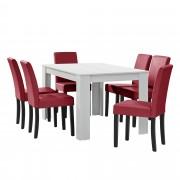 [en.casa] Mesa de comedor diseño - blanco - Set de sillas con estilo elegante - rojo oscuro