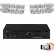 Kit vidéosurveillance IP 16 caméras 1mp 30m