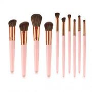 Base Juego de brochas de maquillaje, profesional, 10 unidades, color rosa dorado premium sintético brochas de maquillaje cosméticos para base de maquillaje Kabuki Blush Blending sombra de ojos corrector brochas cosméticos Set