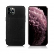 PIRRE CARDIN Genuine Leather Coated TPU Phone Case with Kickstand Covering for iPhone 11 Pro Max 6.5 inch - Black