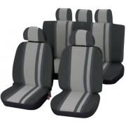 Set scaune auto faţă şi banchetă spate, negru, gri, 14 piese, Unitec Newline