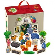 HABA Zooing Around Portable Wooden Zoo Play Set with 23 Wooden Pieces for Ages 18 Months and Up