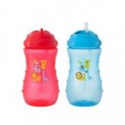Canuta de antrenament anticolici Nenikos STEP 3 cu pai +12 luni aprox. 300 ml fara BPA Roz sau Albastru