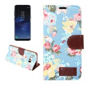 Dibase For Samsung Galaxy S8 Plus Cotton Print Texture Horizontal Flip Leather Case with Holder & Card Slots(Blue)
