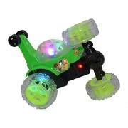 TopTan Rechargeable Big Size 360 Degree Rotating Stunt Car - Front Axle Spinning Wheels - Colorful 3D Lights & Music