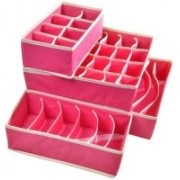 Sellus Set of 4 Foldable Drawer Dividers, Storage Boxes,Innerwear Storage Box, Closet Organizers, Under Bed Organizer, for Clothing, Shoes, Underwear, Bra, Socks(Pink)