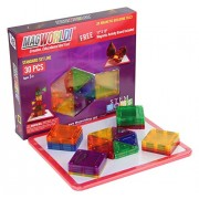 MagWorld Toys Magnetic Construction 30 Piece Set with Magnetic Activity Board. Create 2D and 3D Shapes, Figures & Architecture. Beginner to Advanced STEM Play Age 3 and Up.
