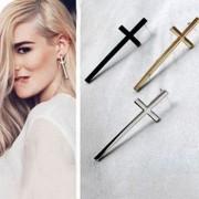 Lovely vintage cross earrings - glossy black