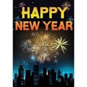 Merkloos Happy new year mega deurposter