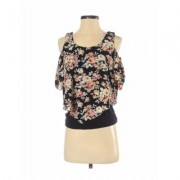 Love J Short Sleeve Blouse: Black Floral Tops - Size Small