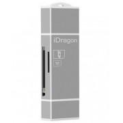 Card Reader iUni Lightning + MicroUSB OTG, Memorie Externa pentru dispozitive iOS si Android, Silver
