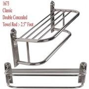 Shruti (Saloni)Heavy Duty Stainless Steel Bathroom Towel Rod / Towel Stand - 2.5 Foot Long (1673)