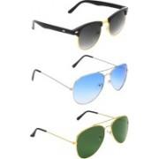 Abner Clubmaster, Aviator, Aviator Sunglasses(Black, Blue, Green)