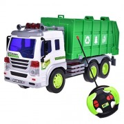Remote Control Recycle Trash Machine Truck Vehicle Green And White 1:16 With Light And Music Six Wheel with Batteries