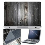FineArts Laptop Skin Wooden Texture With Screen Guard and Key Protector - Size 15.6 inch