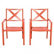 GHP Pack of 2 250Lbs Capacity Orange Steel High Back Outdoor Slat Patio Dining Chairs