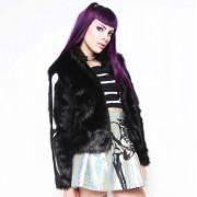 kapucnis pulóver női - Bone In Fur - IRON FIST - IFW005066_Black